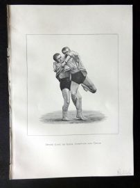 Badminton Library 1889 Wrestling Print. Inside Look or Click. Cornwall and Devon